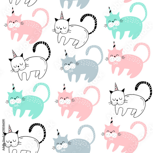 Photo Vector seamless pattern with cute cats