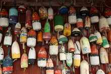 Assorted Old Lobster Buoys Han...