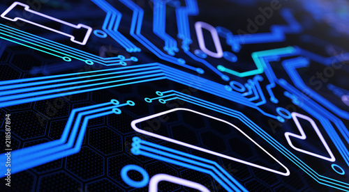 Fototapeta  Abstract Futuristic Circuit Board Background. 3D illustration