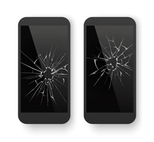 Broken Mobile Phone. Cracked Smartphone Screen. Smashed Damaged Cell Phone. Repair Vector Concept