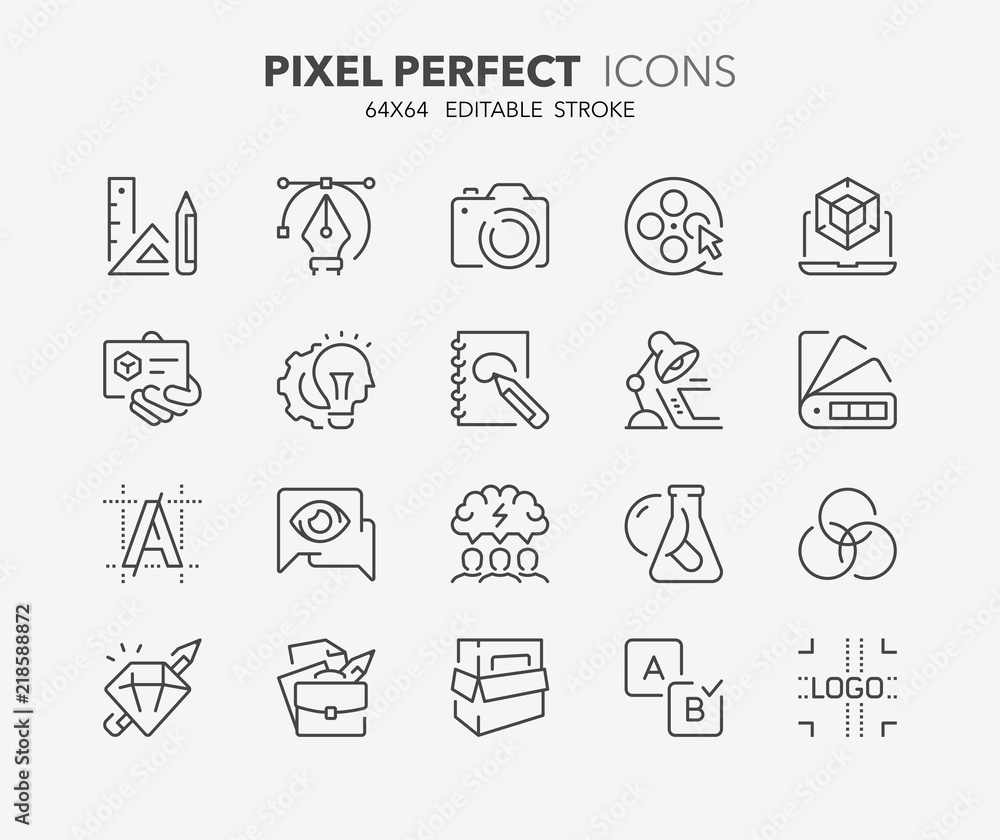 Fototapeta creative process thin line icons