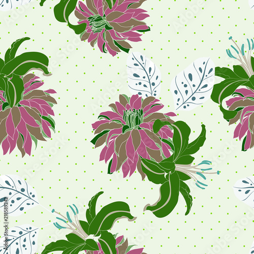 Tuinposter Bloemen Elegance pattern with flowers and leaf.Floral vector illustration.