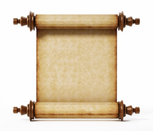 Old Scroll Isolated On White Background. 3D Illustration