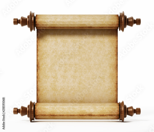 Old scroll isolated on white background. 3D illustration © Destina