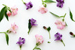 Floral background. Roses, eustoma, lilies on white background. Summer, spring background.