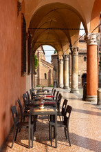 Restaurant Seating In One Of Bologna's Many Colonnades / Porticos