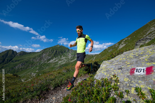 Fototapeta Male athlete practicing mountain running on a trail downhill obraz