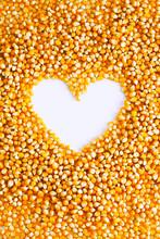 Corn Kernels With Heart Shape Inside.