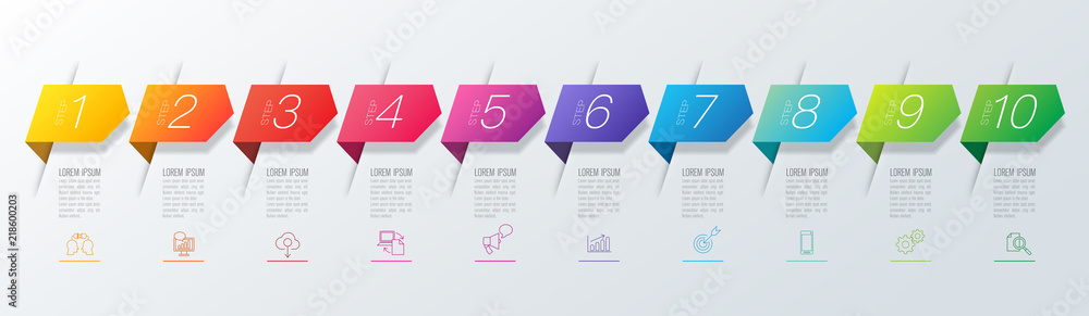 Photo  Infographics design vector and business icons with 10 options.