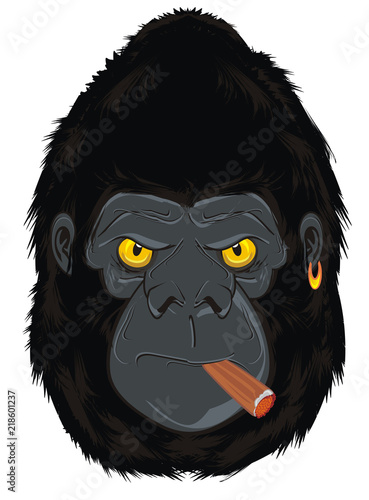 Poster Croquis dessinés à la main des animaux gorilla, monkey, animal, zoo, head, illustration, cartoon, evil, evil beast, smoking