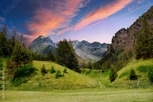 Fotografie, Obraz  Tramonto sulle alpi