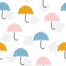 Cute Umbrella And Clouds Seamless Pattern. Vector Hand Drawn Illustration.