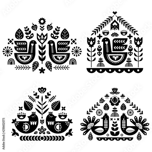 Fotografija  Folk art pattern collection with four single pattern