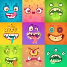 Funny Halloween Monsters. Cute...