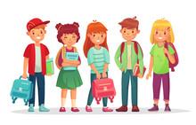 Group Teen Pupils. School Boys...