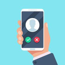 Incoming Call On Mobile Phone. Calling On Smartphone With Caller Avatar, Contact Photo On Ringing Phones Screen Vector Illustration