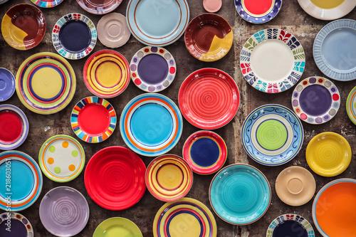 Cuadros en Lienzo Colorful ceramic porcelain dishes kitchenware pattern background