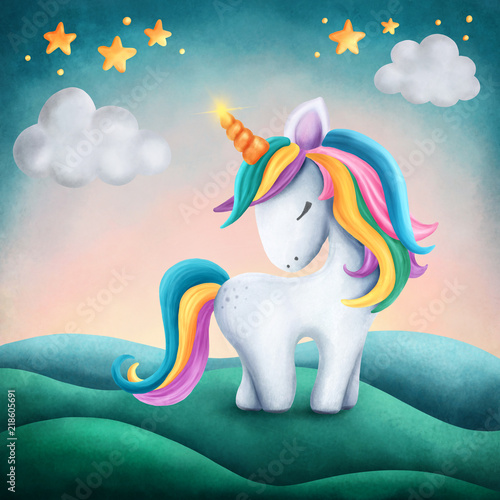 Little cute unicorn Tablou Canvas