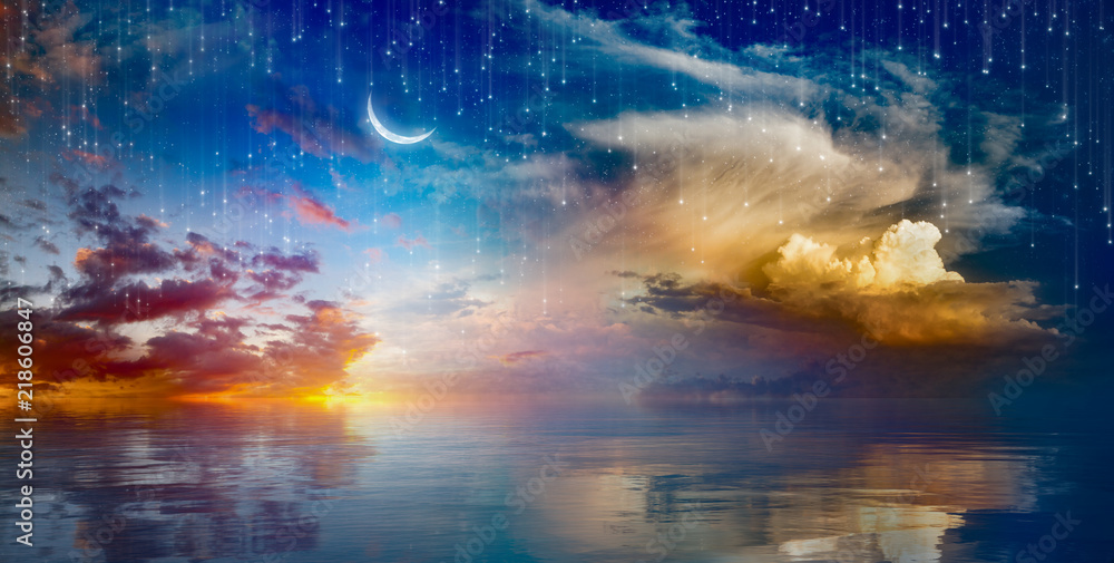 Fototapeta Vibrant surreal background - crescent moon rising above serene sea