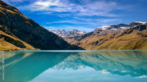 Foto op Canvas Natuur Reflections in the Lac de Moiry (Valais, Switzerland)