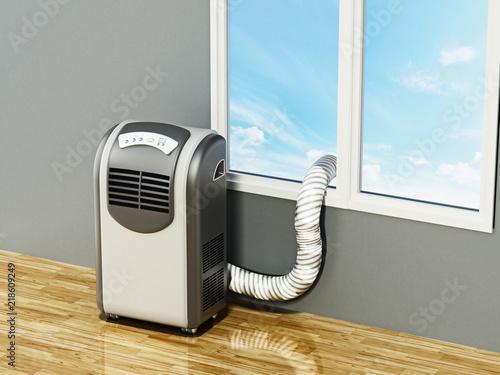 Obraz Generic illustration of mobile air conditioner. 3D illustration - fototapety do salonu
