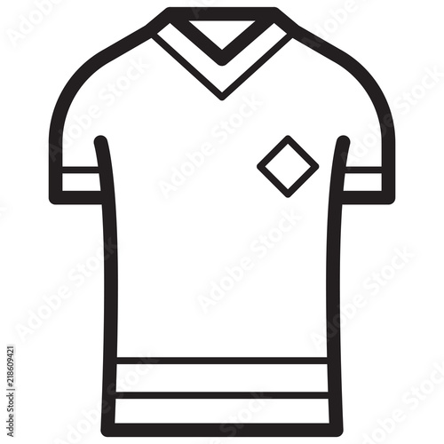 Simple Jersey Related Vector Line Icon  Outline Style