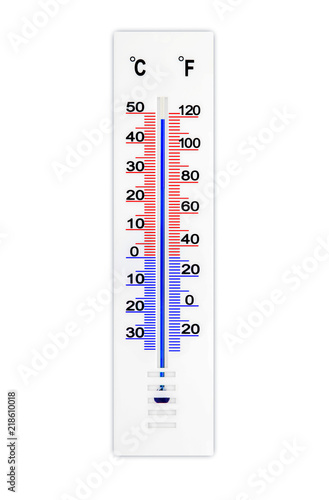 Meteorology Thermometer Isolated On White Background Air Temperature Plus 48 Degrees Celsius