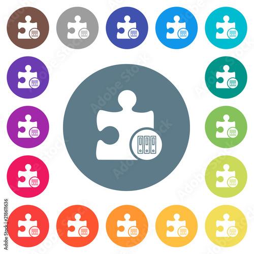 Fotografie, Obraz  Organize plugin flat white icons on round color backgrounds