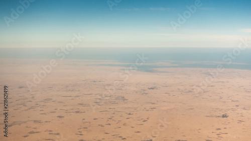 Fotografie, Tablou Coastal desert aerial view in the Persian Gulf
