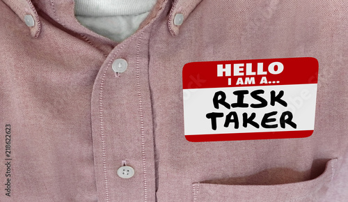 Hello Im a Risk Taker Bold Brave Courage Name Tag 3d Illustration Canvas Print