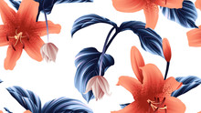 Seamless Pattern, Orange Lily ...