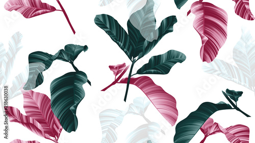 Seamless pattern, green, pink and white leaves with branch on white background