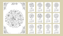 Vector Wall Calendar For 2019 Year With Outline Round Flower Bouquet In Black. Cover With Ornate Jasmine Flower Bunch. Week Starts From Monday, English. Floral Template Design Set In Contour Style.
