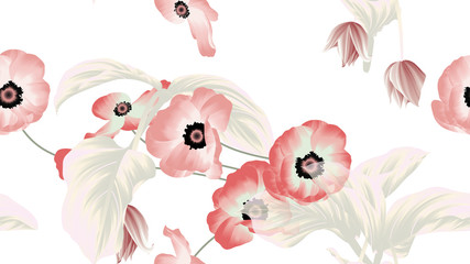 Naklejka Do sypialni Seamless pattern, pink and red anemone flowers, Medinilla magnifica flowers with leaves on white background