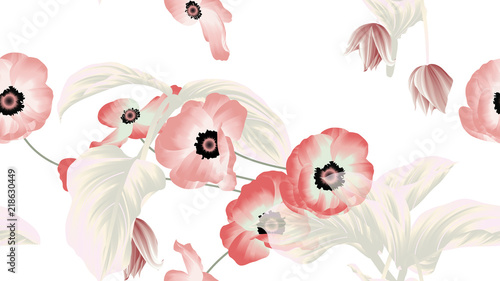 Seamless pattern, pink and red anemone flowers, Medinilla magnifica flowers with leaves on white background