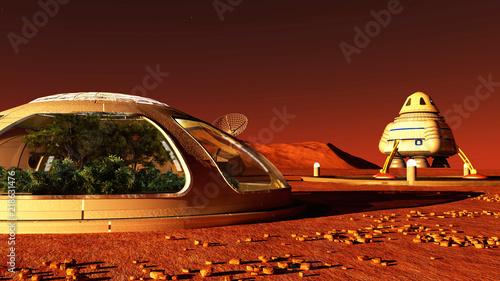 Foto The image of Mars base 3D illustration