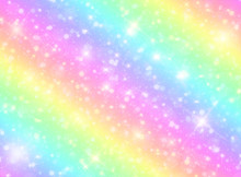 Vector Illustration Of Galaxy Fantasy Background And Pastel Color.The Unicorn In Pastel Sky With Rainbow. Pastel Clouds And Sky With Bokeh. Cute Bright Candy Background .