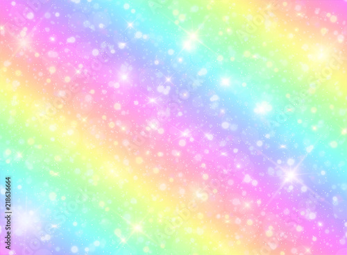 fototapeta na ścianę Vector illustration of galaxy fantasy background and pastel color.The unicorn in pastel sky with rainbow. Pastel clouds and sky with bokeh. Cute bright candy background .