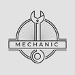 Auto mechanic service. Mechanic service logo set. Repair service auto mechanic logos. Car vintage vector logo set. Vector illustration.