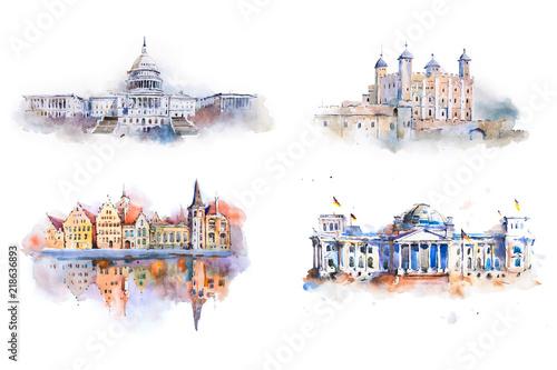 Obrazy architektura architektura-czterech-miejsc-w-stylu-farb-wodnych