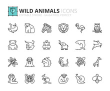 Outline Icons About Wild Animals