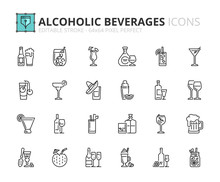 Outline Icons About Alcoholic ...
