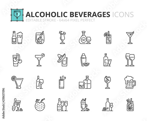 Cuadros en Lienzo Outline icons about alcoholic beverages
