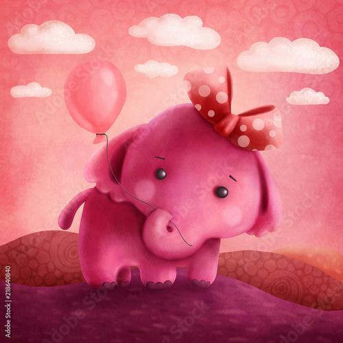 Cute pink elephant Wallpaper Mural