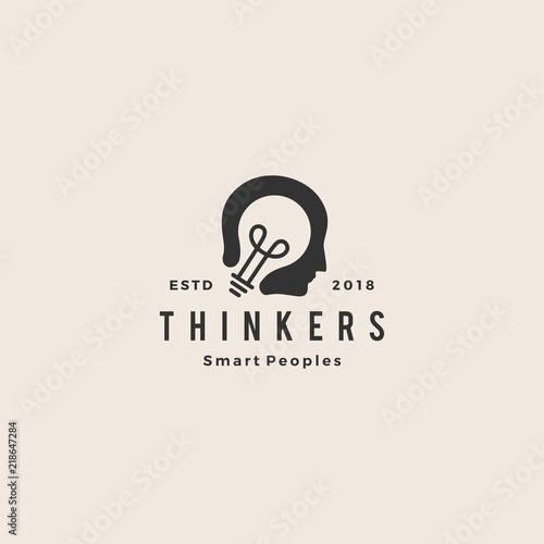 smart human head think bulb idea logo hipster vintage emblem vector icon illustration Wall mural