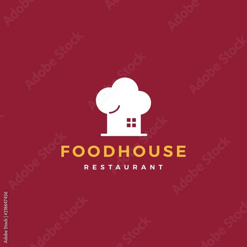 Photo food house chef hat kitchen restaurant cafe logo vector icon