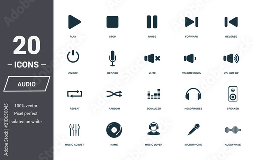 Photo  Audio controls icons set