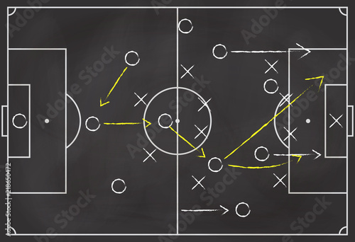 Fotografía  Soccer formation tactics and strategy on a blackboard