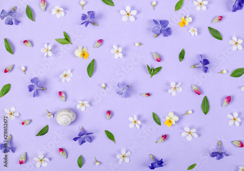 Fotobehang Bloemen Floral pattern made of spring white and violet flowers, green leaves, pink buds and snail shell on pastel lilac background. Flat lay. Top view.