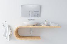 White Basin On Wooden Shelf An...